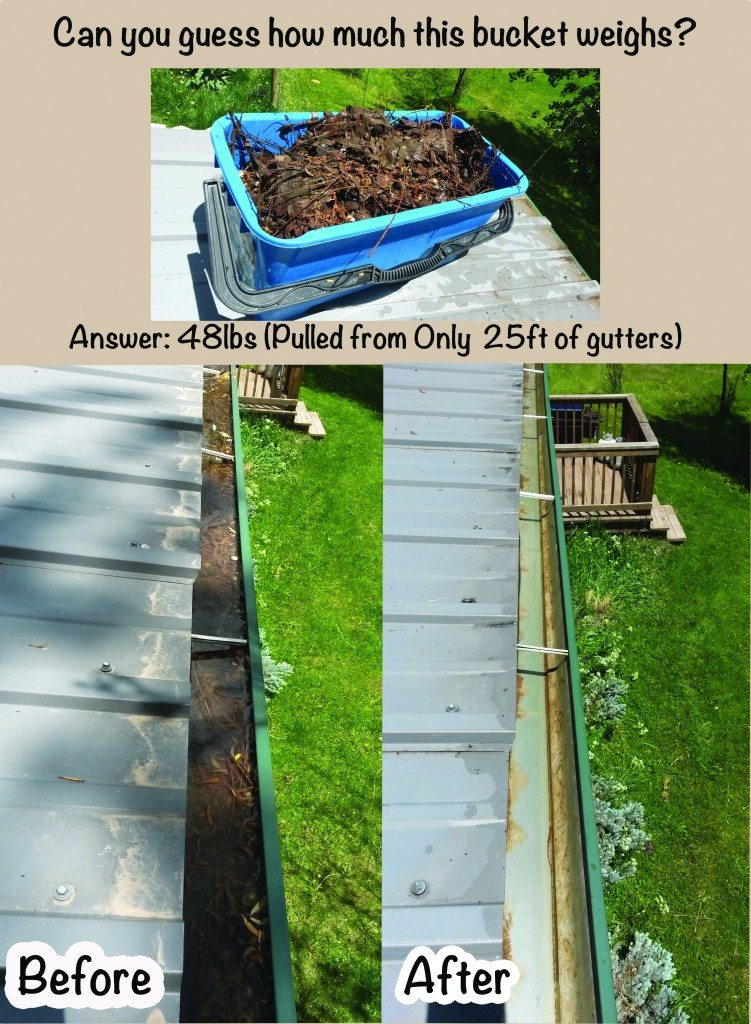 Before and after 25ft section of gutters.